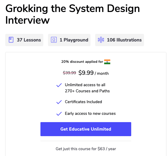Grokking the System Design Interview monthly discount
